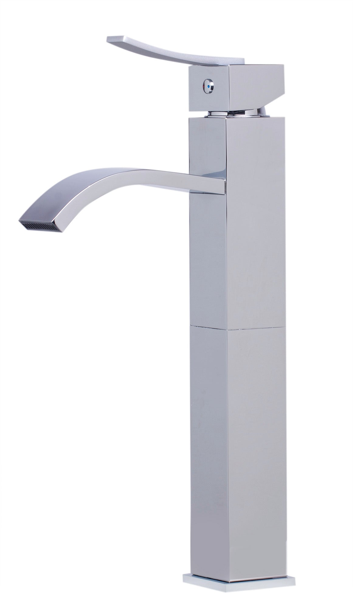 ALFI Tall Polished Chrome Tall Square Body Curved Spout Single Lever ...