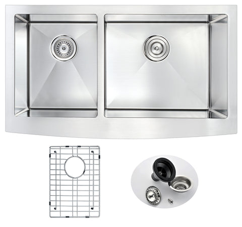 ANZZI Elysian Series 33 in. Farm House 40/60 Dual Basin Handmade Stainless Steel Kitchen Sink K-AZ3320-4B