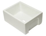 ALFI brand AB2418HS-B 24 inch Biscuit Reversible Smooth / Fluted Single Bowl Fireclay Farmhouse Sink
