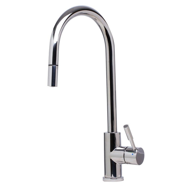 ALFI Solid Polished Stainless Steel Single Hole Pull Down Kitchen Faucet, AB2028-PSS - The Sink Boutique