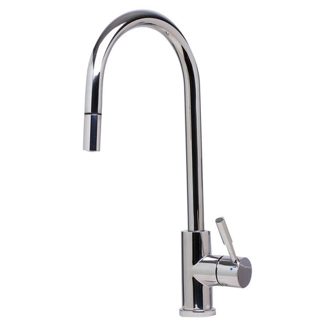ALFI Solid Polished Stainless Steel Single Hole Pull Down Kitchen Faucet, AB2028-PSS
