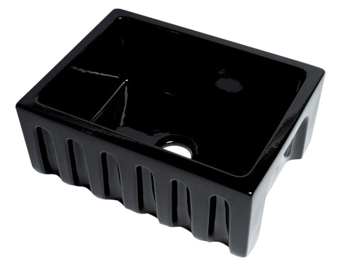 "ALFI brand AB2418HS-BG 24"" Black Gloss Reversible Smooth / Fluted Single Bowl Fireclay Farm Sink"