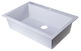 "ALFI White 30"" Drop-In Single Bowl Granite Composite Kitchen Sink, AB3020DI-W - The Sink Boutique"