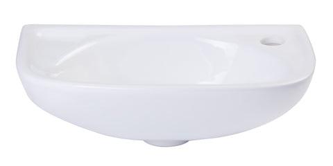 ALFI Small White Wall Mounted Porcelain Bathroom Sink Basin, AB102