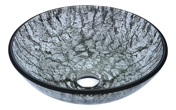 "ANZZI 16"" Posh Series Deco-Glass Vessel Sink in Verdure Silver, LS-AZ297"