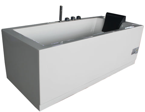 EAGO AM154ETL-L6 6 ft Acrylic White Rectangular Whirlpool Bathtub w Fixtures