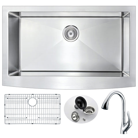 ANZZI Elysian Farmhouse Stainless Steel 36 in. 0-Hole Kitchen Sink and Faucet Set