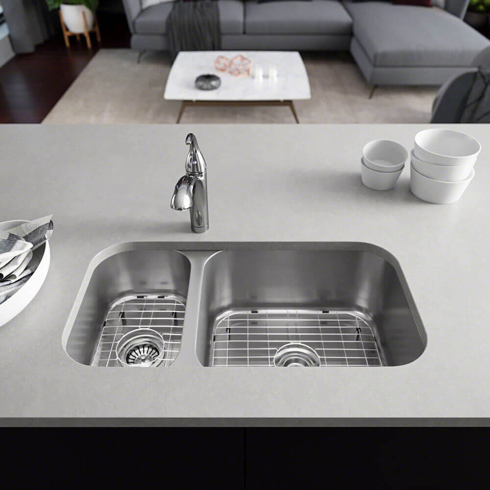Rene 32 Stainless Steel Kitchen Sink 30 70 Double Bowl 16 Gauge R1 The Sink Boutique