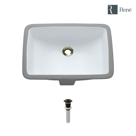 "Rene 21"" Rectangle Porcelain Bathroom Sink, White, R2-1002-W-PUD-ABR"