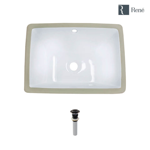 "Rene 18"" Rectangle Porcelain Bathroom Sink, White, R2-1007-W-PUD-ABR"