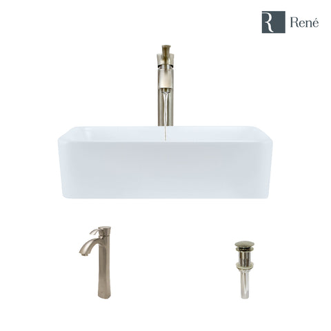 "Rene 19"" Rectangle Porcelain Bathroom Sink, White, with Faucet, R2-5007-W-R9-7006-BN"