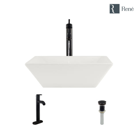"Rene 16"" Square Porcelain Bathroom Sink, Biscuit, with Faucet, R2-5010-B-R9-7001-ABR"