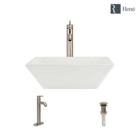 "Rene 16"" Square Porcelain Bathroom Sink, Biscuit, with Faucet, R2-5010-B-R9-7001-BN"