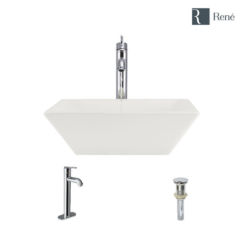 "Rene 16"" Square Porcelain Bathroom Sink, Biscuit, with Faucet, R2-5010-B-R9-7001-C"