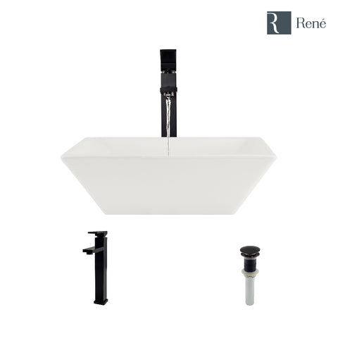 "Rene 16"" Square Porcelain Bathroom Sink, Biscuit, with Faucet, R2-5010-B-R9-7003-ABR"