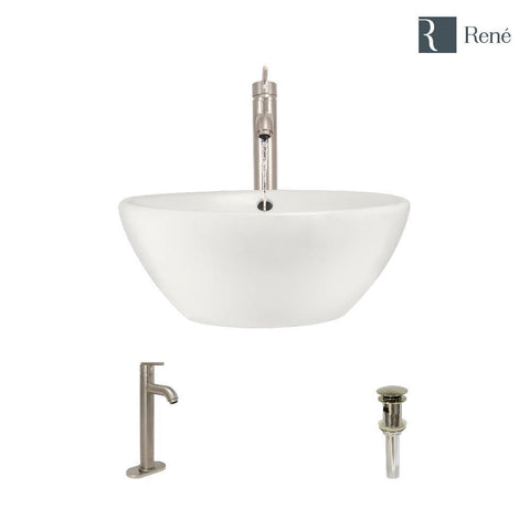 "Rene 16"" Round Porcelain Bathroom Sink, Biscuit, with Faucet, R2-5031-B-R9-7001-BN"