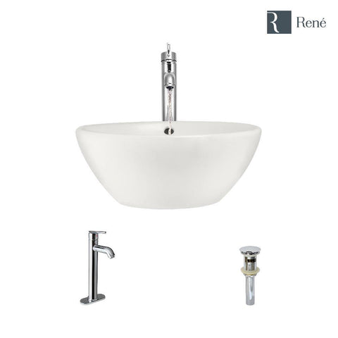 "Rene 16"" Round Porcelain Bathroom Sink, Biscuit, with Faucet, R2-5031-B-R9-7001-C"