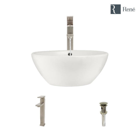 "Rene 16"" Round Porcelain Bathroom Sink, Biscuit, with Faucet, R2-5031-B-R9-7003-BN"