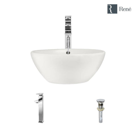 "Rene 16"" Round Porcelain Bathroom Sink, Biscuit, with Faucet, R2-5031-B-R9-7003-C"