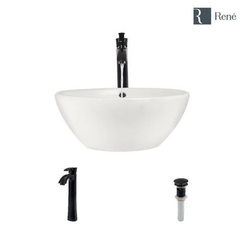 "Rene 16"" Round Porcelain Bathroom Sink, Biscuit, with Faucet, R2-5031-B-R9-7006-ABR"