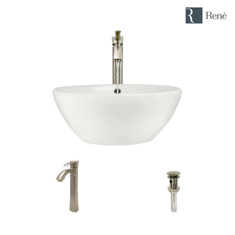 "Rene 16"" Round Porcelain Bathroom Sink, Biscuit, with Faucet, R2-5031-B-R9-7006-BN"