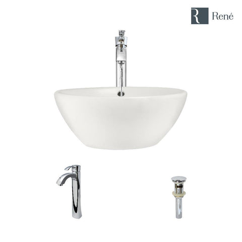 "Rene 16"" Round Porcelain Bathroom Sink, Biscuit, with Faucet, R2-5031-B-R9-7006-C"