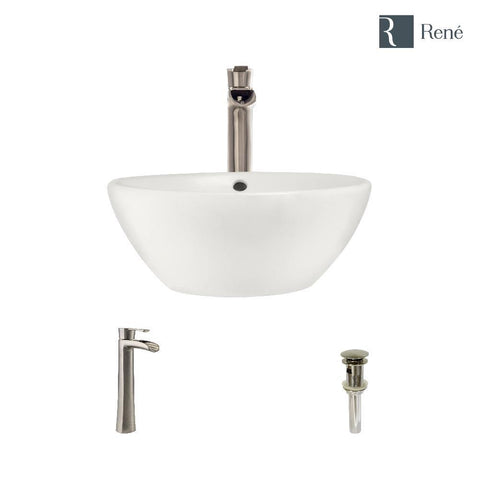 "Rene 16"" Round Porcelain Bathroom Sink, Biscuit, with Faucet, R2-5031-B-R9-7007-BN"