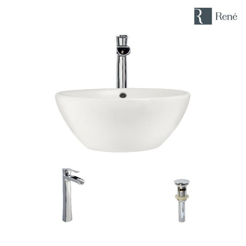 "Rene 16"" Round Porcelain Bathroom Sink, Biscuit, with Faucet, R2-5031-B-R9-7007-C"