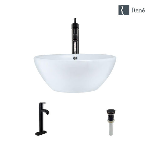 "Rene 16"" Round Porcelain Bathroom Sink, White, with Faucet, R2-5031-W-R9-7001-ABR"