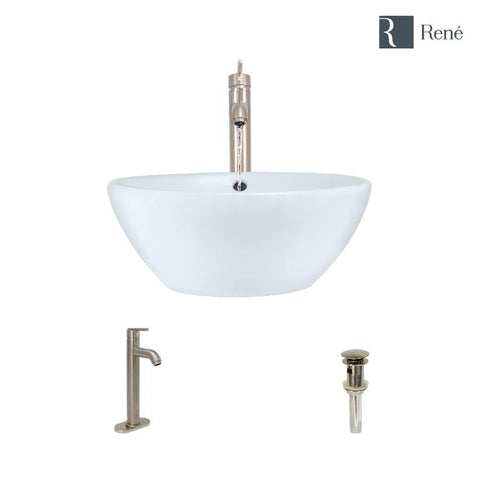 "Rene 16"" Round Porcelain Bathroom Sink, White, with Faucet, R2-5031-W-R9-7001-BN"