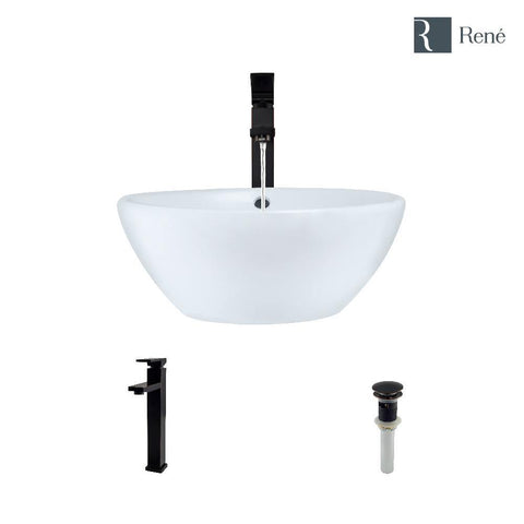 "Rene 16"" Round Porcelain Bathroom Sink, White, with Faucet, R2-5031-W-R9-7003-ABR"