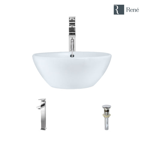 "Rene 16"" Round Porcelain Bathroom Sink, White, with Faucet, R2-5031-W-R9-7003-C"