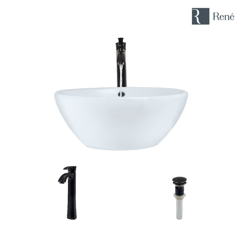 "Rene 16"" Round Porcelain Bathroom Sink, White, with Faucet, R2-5031-W-R9-7006-ABR"