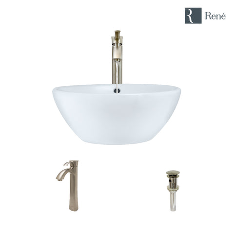 "Rene 16"" Round Porcelain Bathroom Sink, White, with Faucet, R2-5031-W-R9-7006-BN"