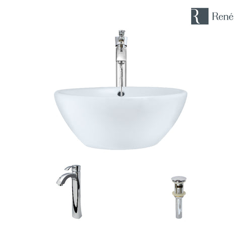 "Rene 16"" Round Porcelain Bathroom Sink, White, with Faucet, R2-5031-W-R9-7006-C"