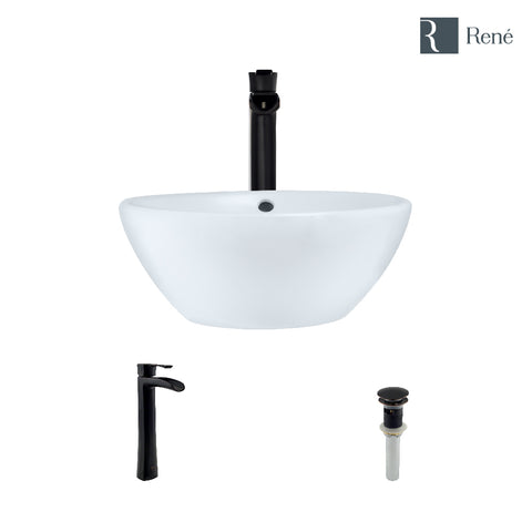 "Rene 16"" Round Porcelain Bathroom Sink, White, with Faucet, R2-5031-W-R9-7007-ABR"