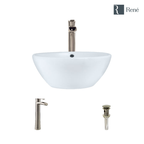 "Rene 16"" Round Porcelain Bathroom Sink, White, with Faucet, R2-5031-W-R9-7007-BN"