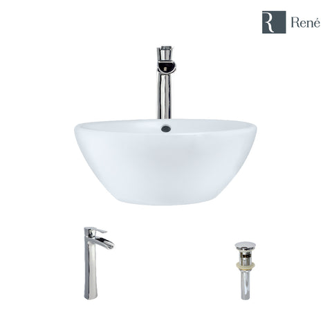 "Rene 16"" Round Porcelain Bathroom Sink, White, with Faucet, R2-5031-W-R9-7007-C"