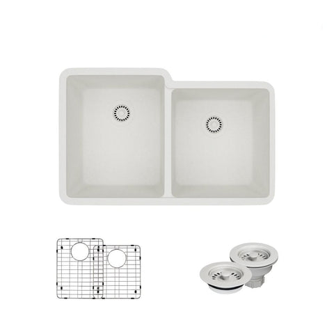"Rene 33"" Composite Granite Kitchen Sink, 55/45 Double Bowl, Ivory, R3-1001-IVR-ST-CGF"