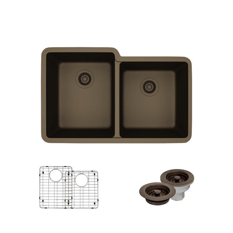 "Rene 33"" Composite Granite Kitchen Sink, 55/45 Double Bowl, Umber, R3-1001-UMB-ST-CGF"