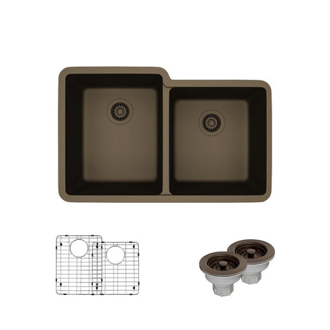 "Rene 33"" Composite Granite Kitchen Sink, 55/45 Double Bowl, Umber, R3-1001-UMB-ST-CGS"