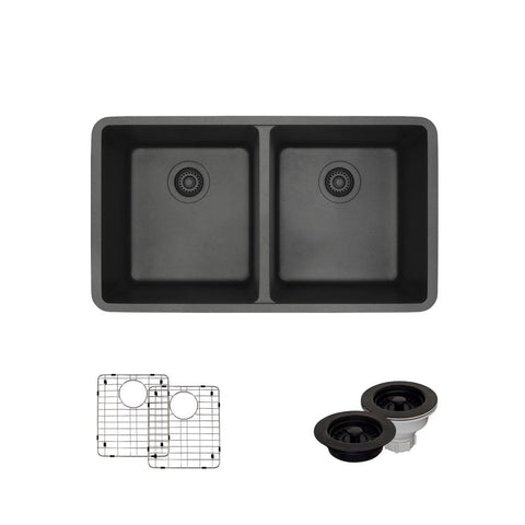 "Rene 33"" Composite Granite Kitchen Sink, 50/50 Double Bowl, Carbon, R3-1002-CAR-ST-CGF"