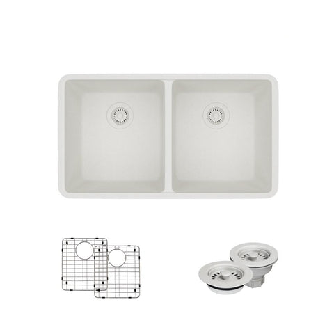 "Rene 33"" Composite Granite Kitchen Sink, 50/50 Double Bowl, Ivory, R3-1002-IVR-ST-CGF"