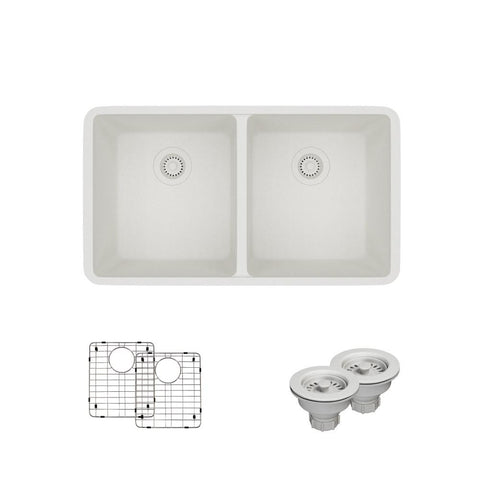 "Rene 33"" Composite Granite Kitchen Sink, 50/50 Double Bowl, Ivory, R3-1002-IVR-ST-CGS"