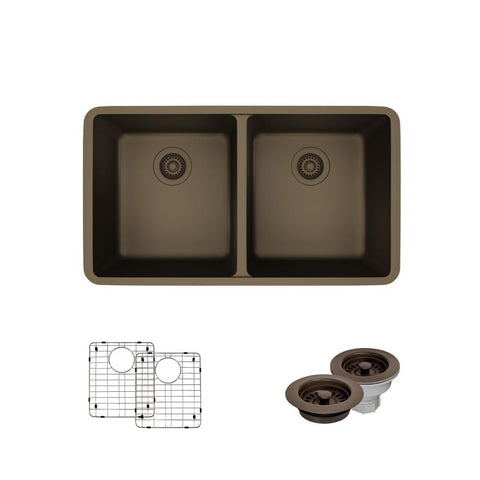 "Rene 33"" Composite Granite Kitchen Sink, 50/50 Double Bowl, Umber, R3-1002-UMB-ST-CGF"
