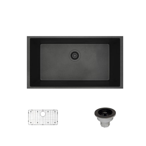 "Rene 33"" Composite Granite Kitchen Sink, Carbon, R3-1006-CAR-ST-CGS"