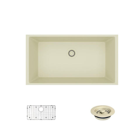 "Rene 33"" Composite Granite Kitchen Sink, Ecru, R3-1006-ECR-ST-CGF"