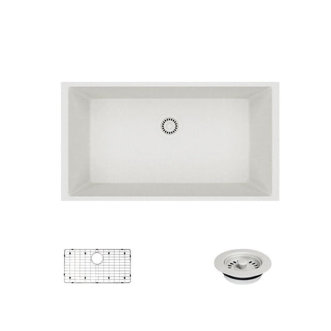 "Rene 33"" Composite Granite Kitchen Sink, Ivory, R3-1006-IVR-ST-CGF"