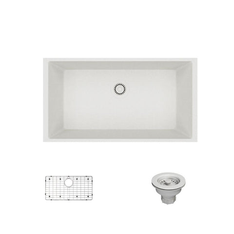 "Rene 33"" Composite Granite Kitchen Sink, Ivory, R3-1006-IVR-ST-CGS"