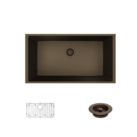 "Rene 33"" Composite Granite Kitchen Sink, Umber, R3-1006-UMB-ST-CGF"